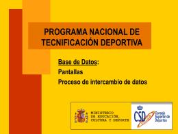 Tecnificación Deportiva. Bases de Datos