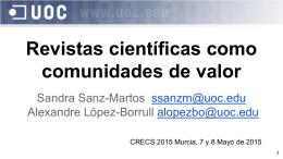 Revistas científicas como comunidades de valor - e-Lis