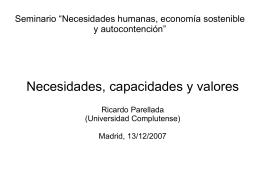 """Seminario """"Necesidades humanas, economía sostenible y"""