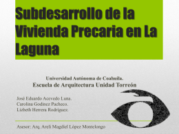 25. Subdesarrollo de la Vivienda Precaria en La Laguna