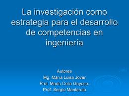 La investigación como estrategia para el desarrollo de
