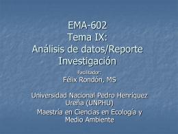Profesor Rondon Tema 9 Análisis de Datos