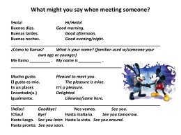 Greetings What might you say when meeting