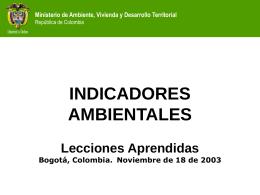 Indicadores Ambientales - Lecciones