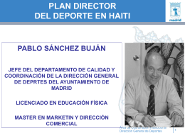 Plan Director del Deporte de HAITI - Planificación y Gestión Deportiva
