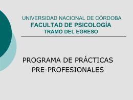 prácticas pre-profesionales - Facultad de Psicología