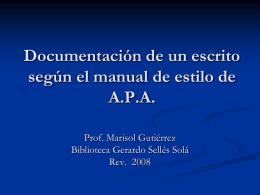 Documentación de un escrito según el manual de