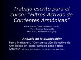 """Trabajo escrito para el curso: """"Filtros Activos de Corrientes"""