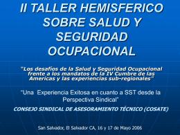 ii taller hemisferico sobre salud y seguridad ocupacional