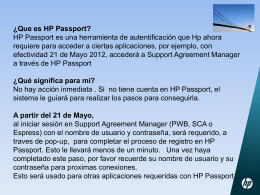 ¿Que es HP Passport? - HP`s support agreement manager