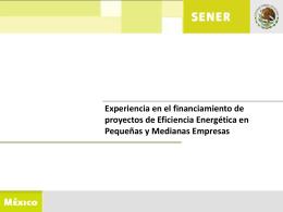 Experiencia en el financiamiento de proyectos de Eficiencia