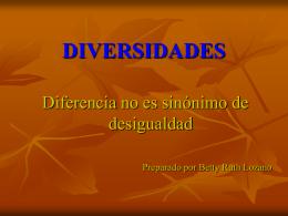 Diferencia no es sinónimo de desigualdad