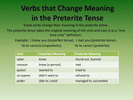 Verbs that Change Meaning in the Preterite Tense