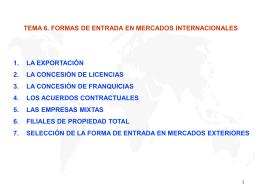 Formas de entrada en mercados internacionales