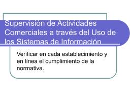 Supervision de Actividades Comerciales a traves del Uso de los Sist