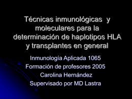 Técnicas de laboratorio para HLA