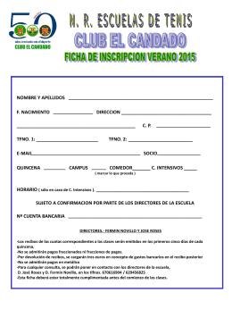 Ficha Inscripción.Verano 2015