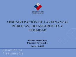 Administración de las Finanzas Públicas, Transparencia y Probidad