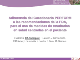 Cuestionario PERFORM - Sociedad Española de Oncología Médica