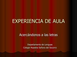 EXPERIENCIA DE AULA - Educadores y educadoras para una