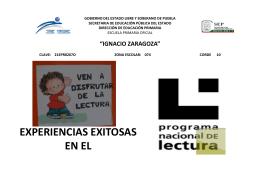 EXPERIENCIAS EXITOSAS EN EL Programa Nacional de Lectura