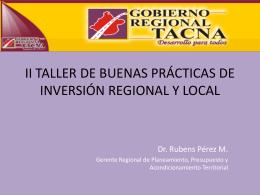 II TALLER DE BUENAS PRÁCTICAS DE INVERSIÓN REGIONAL Y