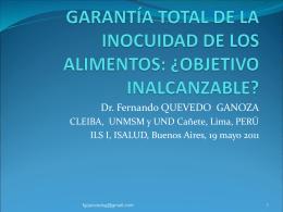 GARANTÍA TOTAL DE LA INOCUIDAD DE LOS ALIMENTOS