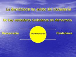 La democracia no existe sin ciudadanía No hay verdaderos