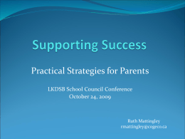 Supporting Success - Practical Strategies for Parents