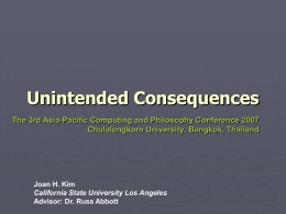 Unintended consequences - Center for Ethics of Science and
