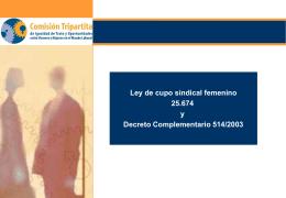 Ley de cupo sindical femenino 25.674 y Decreto