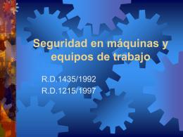 Seguridad en máquinas y equipos de trabajo