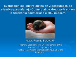 Manejo de Caracoles Acuáticos Amazónicos