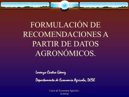 formulación de recomendaciones a partir de datos agronómicos.
