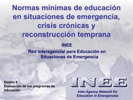 Sesión 8 – Evaluación de los programas de educación