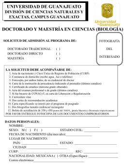 solicitud de ingreso - División de Ciencias Naturales y Exactas