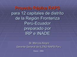 Proyecto Réplica RAPS para 12 capitales de