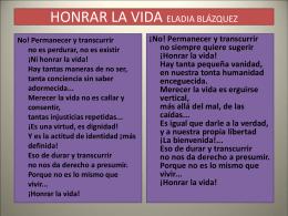 HONRAR LA VIDA ELADIA BLÁZQUEZ