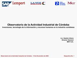 Observatorio de la Actividad Industrial de Córdoba Inversiones