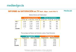 INFORME de SATURACIÓN en TV Abril - Mayo