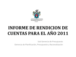 informe de rendicion de cuentas para el año 2011