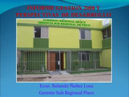 informe avance del proceso de reconstrucción de la provincia de pisco