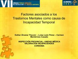 Factores asociados a los Trastornos Mentales como causa