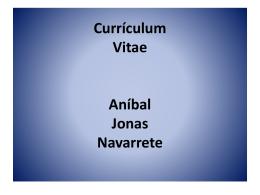 Currículum Vitae Aníbal Jonas Navarrete