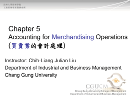 Ch.5 Accounting for Merchandising Operations