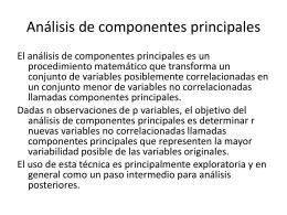 Análisis cuantitativos. Análisis de Componentes Principales