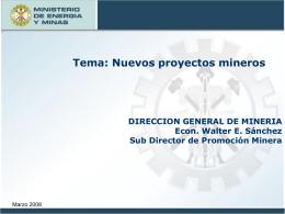 Nuevos proyectos de inversion - Ministerio de Energía y Minas
