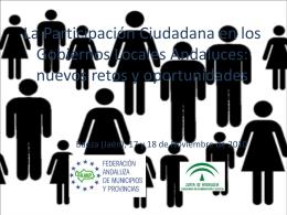 La Participación Ciudadana en los Gobiernos Locales Andaluces
