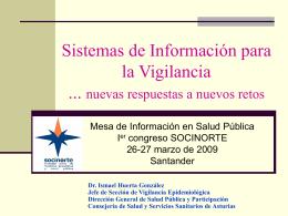"""""""Sistemas de Información para la Vigilancia: nuevas"""