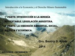 Introducción a la minería sustentable. Legislación Argentina.